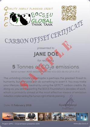 Carbon Offset Certificate Sample | BOCS Foundation